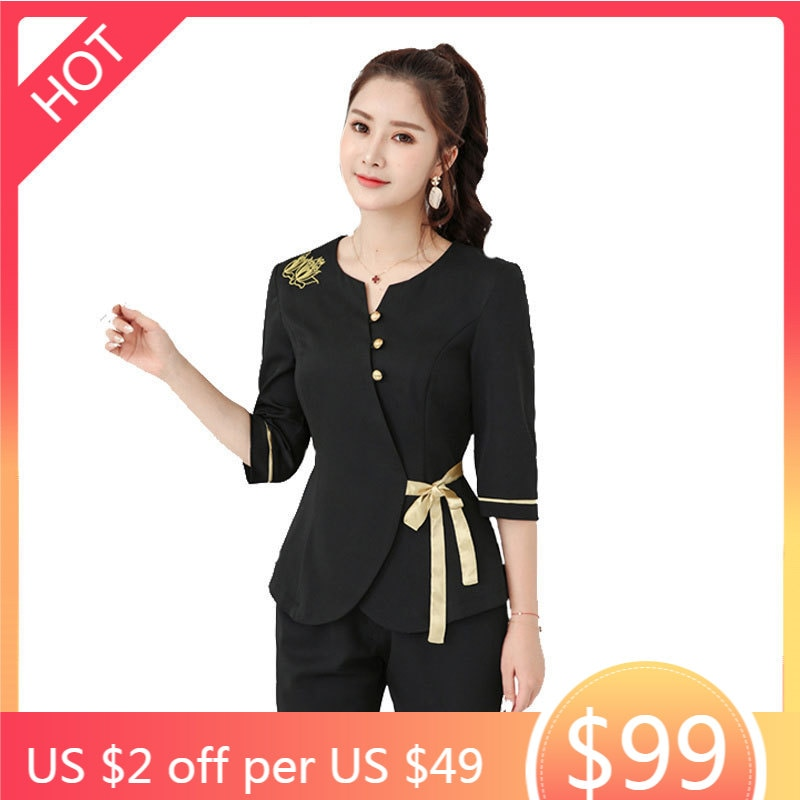 Women massage clothes black 2pcs Sets Female Sauna foot bath Uniforms Beauty Clothing beautician clo