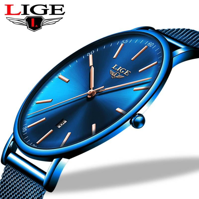 LIGE Womens Watches Top Brand Luxury Waterproof Watch Fashion Ladies Stainless Steel Ultra-Thin Casu