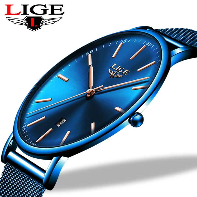 LIGE Womens Watches Top Brand Luxury Waterproof Watch Fashion Ladies Stainless Steel Wristwatch Casual Quartz Clock Reloj Mujer