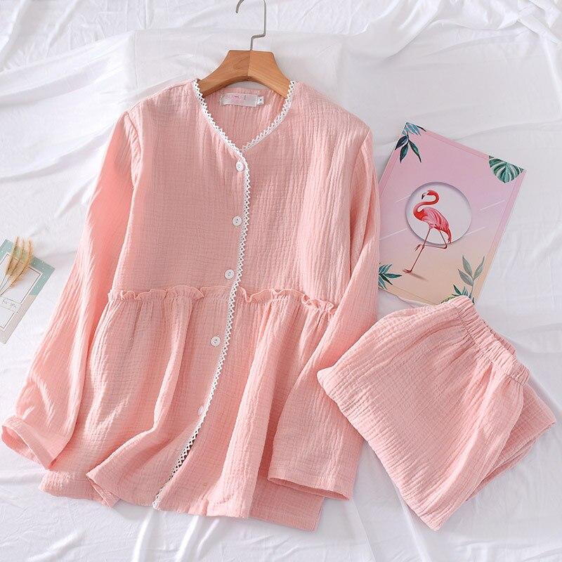 Pajamas Cotton Ladies Homewear Set Fashion Printing Lace V-neck Long-sleeved Trousers Pink Sleep Clothes Pj Warm Women Pajamas