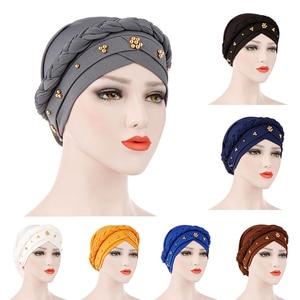 Muslim Turban Scarf Bandans Beaded Caps Hijab Women Cotton Headwear Headwrap Pearl Head Wrap Twist Hair Band Accessoires