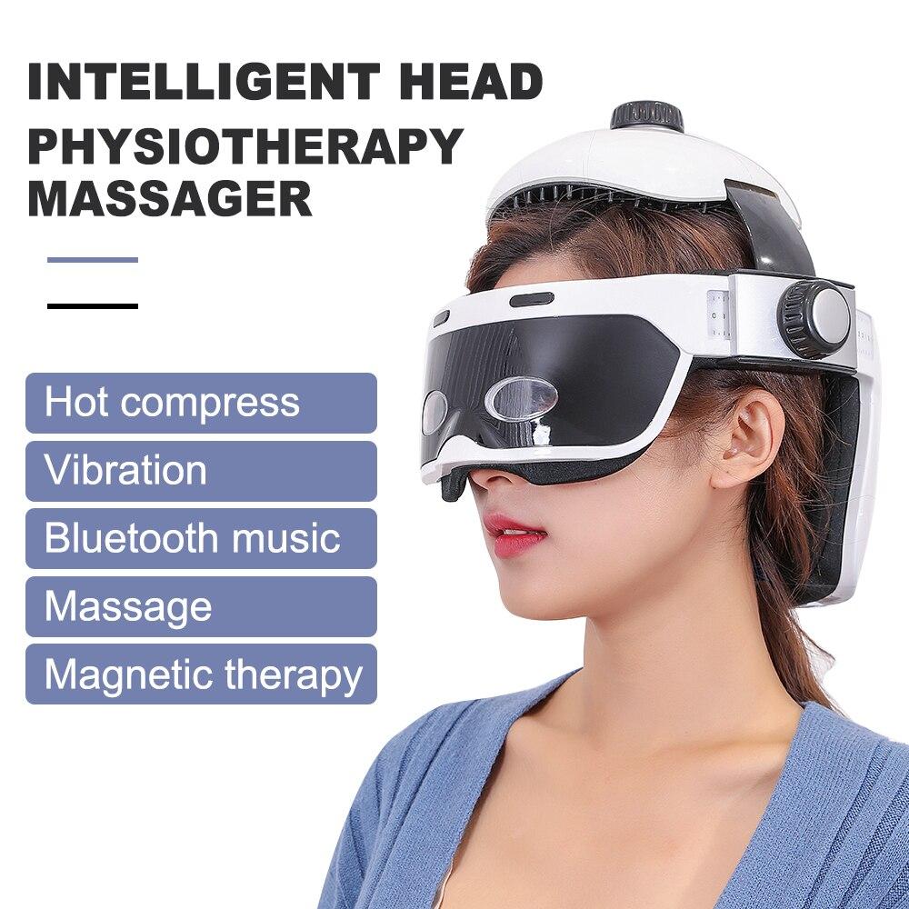 متعددة الوظائف تخفيف الإجهاد رئيس مدلك العين مدلك تعزيز النوم الموسيقى تلعب تدليك خوذة الأشعة تحت الحمراء ضغط رئيس مدلك