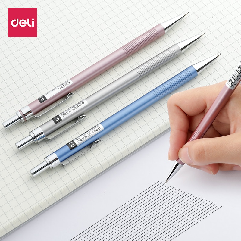6490-6491 Mechanical Pencil Full Metal Rod Is Not Easy to Break the Core Automatic Pen 0.5 with a Push-type Drawing Pencil Work