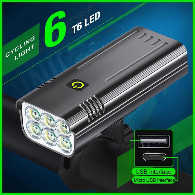 10000mAh إضاءة دراجة هوائية 6T6 LED الدراجة الخفيفة USB قابلة للشحن الدراجة مصباح يدوي دراجة الجبهة الخفيفة كما قوة البنك دراجة الملحقات