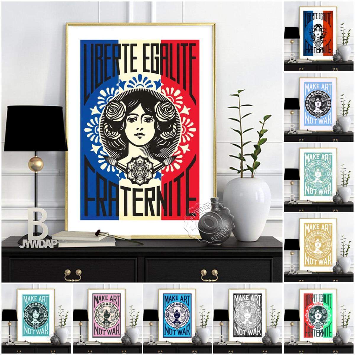 Литографический постер Liberte Egalite, сказочное настенное искусство, уличное искусство, винтажное искусство, не война, домашний декор
