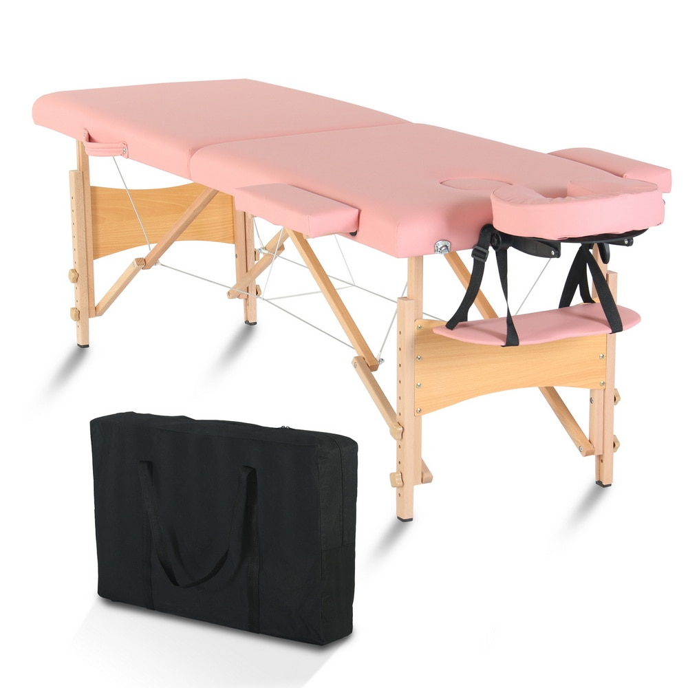 Beauty Massage Table Bed 2 Sections Folding Beech Leg 186x60x60CM Height Adjustable Versatile Portable Pink/White[US-Stock]