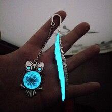 1pcs New Arrival Luminous Owl Bookmark Creative Mermaid Tail Retro Metal Book Marks for Girls Gift School Supplies