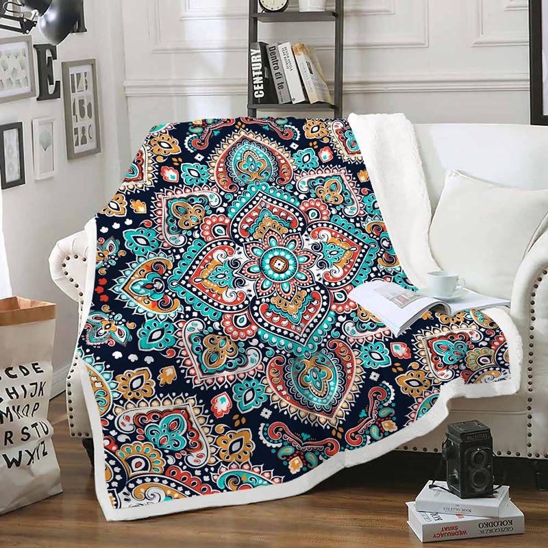 Fanaijia mandala polaire jeter couverture pour canapé couvertures garder au chaud fausse fourrure bohème imprimé Double couverture lit