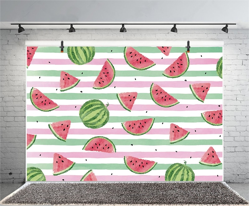 Watermelon Happy Birthday Newborn Photo Backdrop Party Kids Photography Background Photocall Banner Prop Decoration enlarge