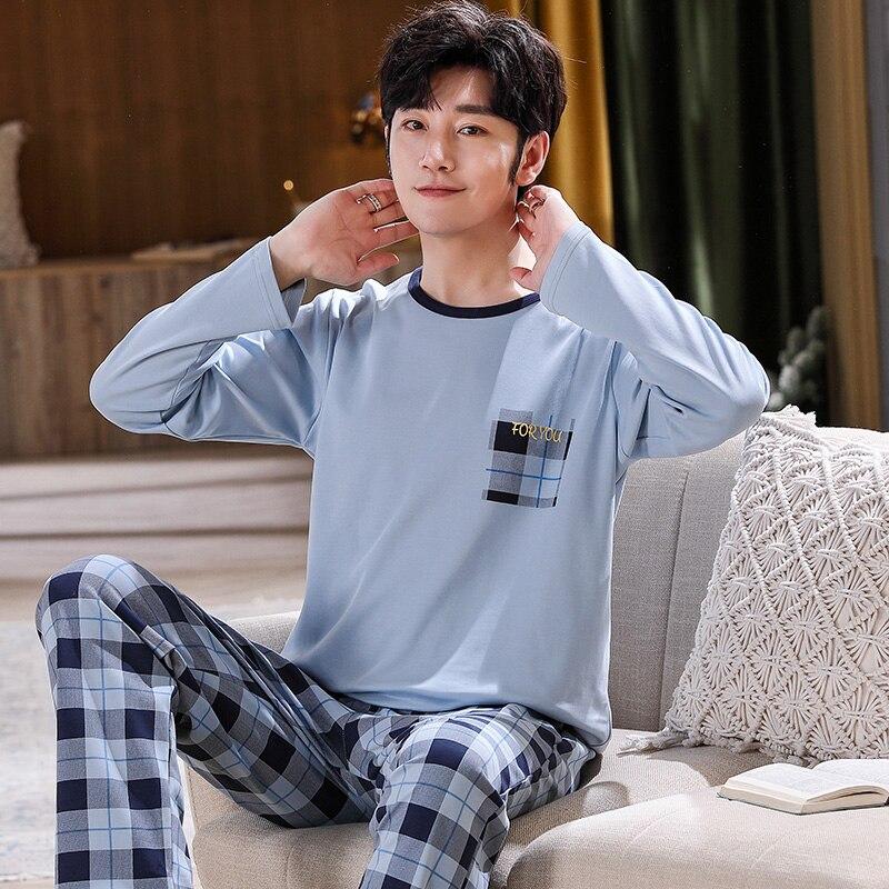 Весна и осень мужские пижамы хлопок пижамы с длинным рукавом повседневные мужские пижамы комплект плюс размер L-4XL одежда для сна