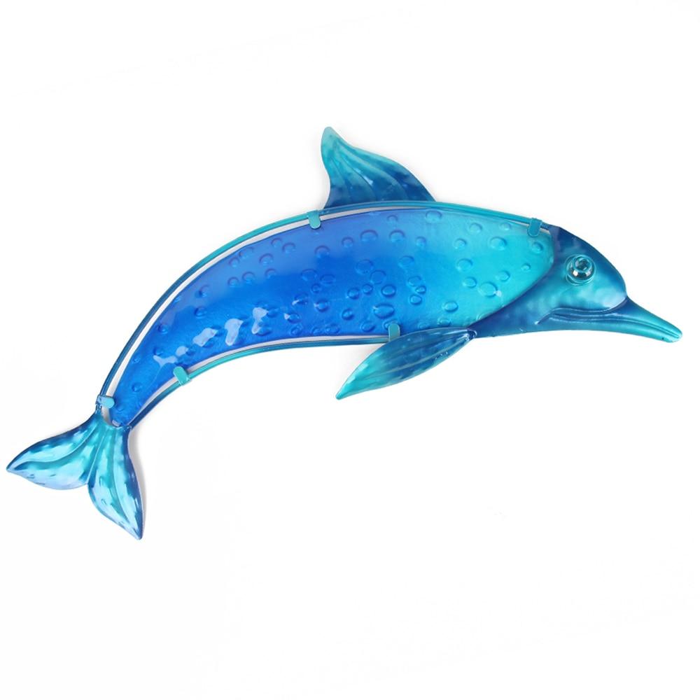 Arte de la pared del Delfín Azul de Metal para la decoración del jardín adornos en miniatura estatuas para uso en exteriores y accesorios escultura
