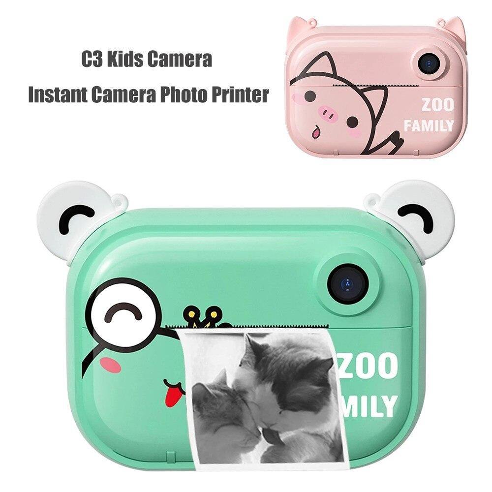 C3 أطفال كاميرا رقمية 2.4 بوصة IPS شاشة 12MP عدسة مزدوجة 32GB كاميرا فورية طابعة صور للأطفال هدايا عيد الميلاد
