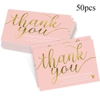 50pcs Pink Thank You for Supporting My Small Business Card Thanks Greeting Card Appreciation Cardstock for Gift 5 9cm