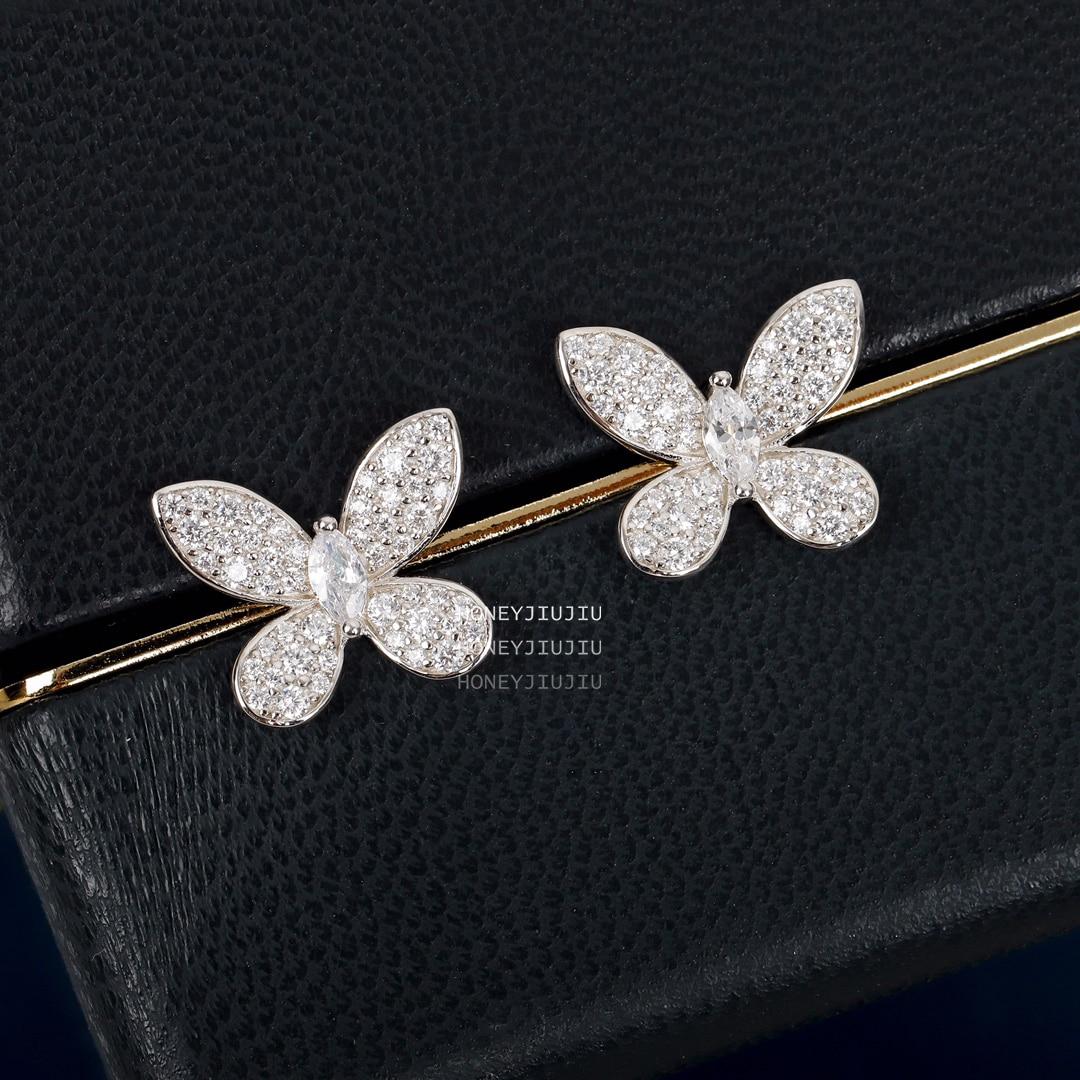 أوروبا وأمريكا ماركة فراشة الكريستال الماس الفضة اللون أقراط النساء مصمم مجوهرات فاخرة أعلى جودة الزفاف هدية
