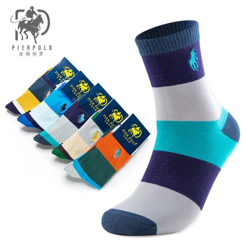 Calcetines de algodón bordados de invierno para hombre de la marca PIER POLO, calcetines de tubo medio informales de negocios, Calcetines para hombre, venta al por mayor, Multicolor, 5 par/lote