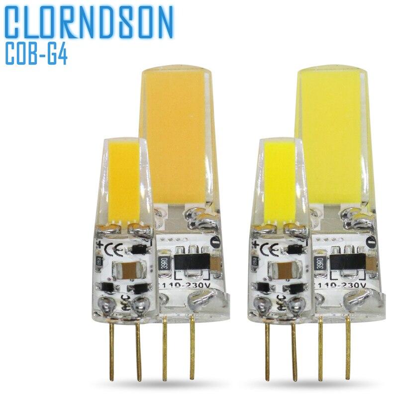 Regulable COB LED G4 2W 5W bombilla de luz AC/DC 12V 220V lámparas LED lámpara de foco reemplazar equivalente 50W bombillas halógenas