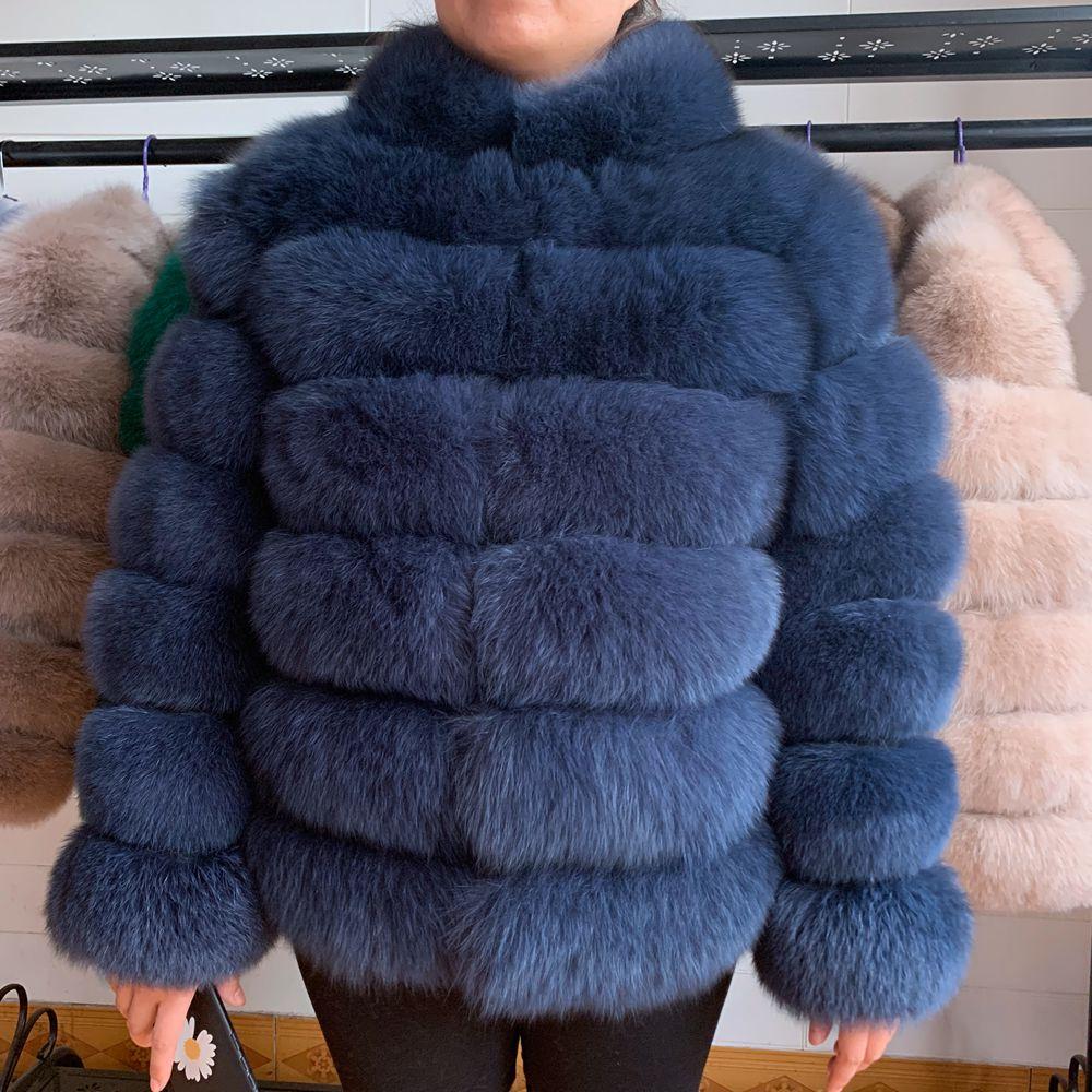 2020 Winter Real Fox Fur Coat Women Fashion Thick Natural Fur Jacket Luxurious Fur Overcoat Female Ladies Real Fox Fur Jacket