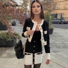 2021 New High Street Summer Patchwork 2 Two-Piece Set O-Neck Long Sleeve Pocket Button Mini Bandage