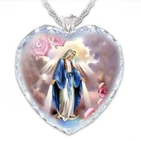 fashion creative heart shaped crystal glass virgin mary pendant all match exquisite trend temperament atmospheric gift jewelry
