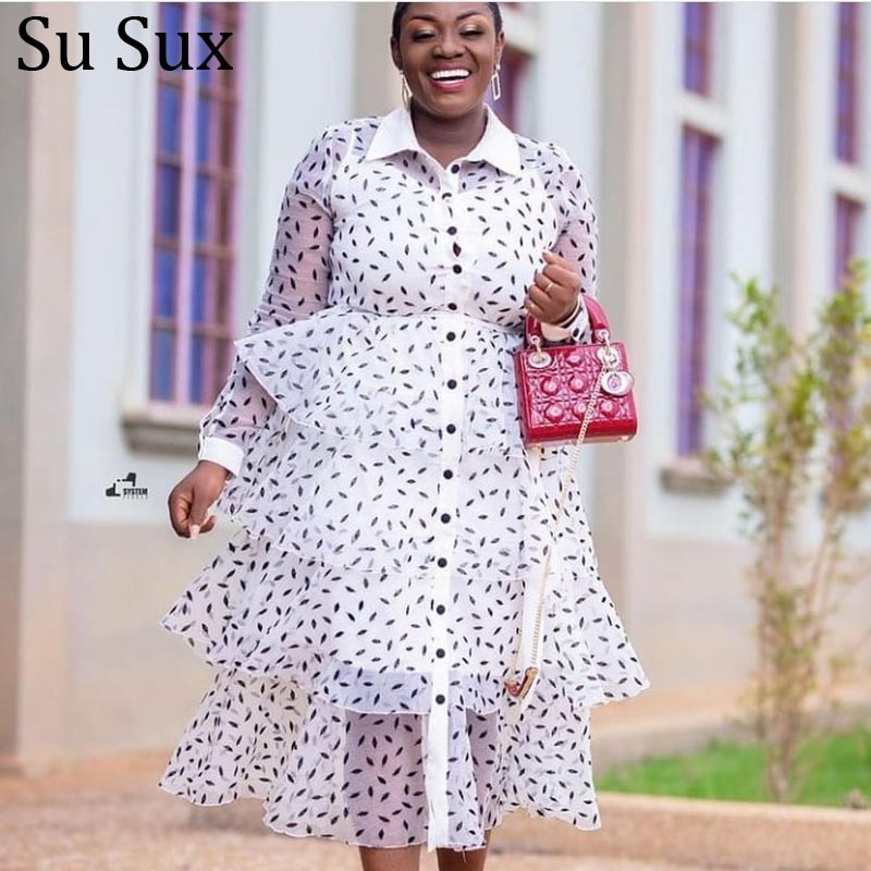 Plus Size Mesh Cake Maxi Dress Women African Clothes White Trun Down Long Sleeve Perspective Dress Vestidos Partyclub 2021 Autum