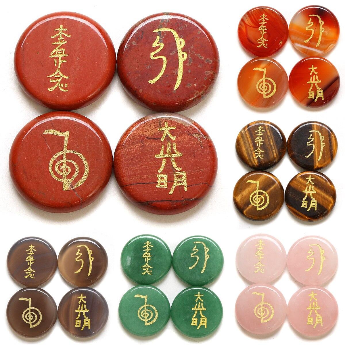 4 unids/pack 5x25mm moda Natural de piedra Semi-preciosa piedra de Sanación Reiki símbolos de la religión 11 colores cuatro Reiki símbolos No agujero