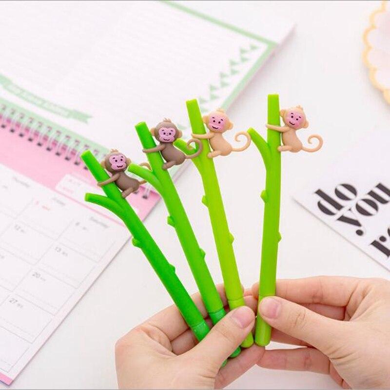 2 unids/lote de bolígrafos de papelería de Gel de mono bonito bolígrafo de Gel de dibujos animados Kawaii suministros escolares bolígrafos y lápices firma estudiante
