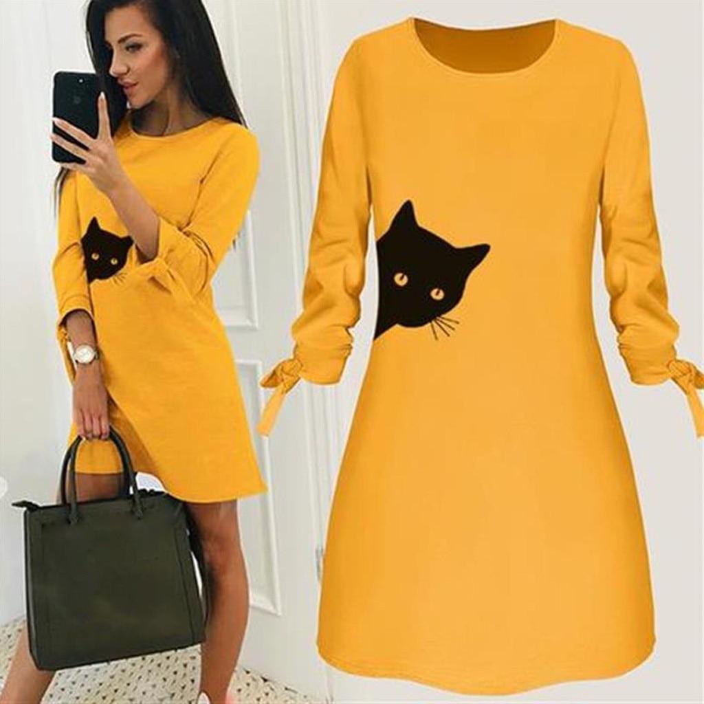 Dress Female Women Fashion Printed Cat Animal Bow O Neck Long Sleeve Blouse Mini Dress Winter Dresses robe pull femme hiver New