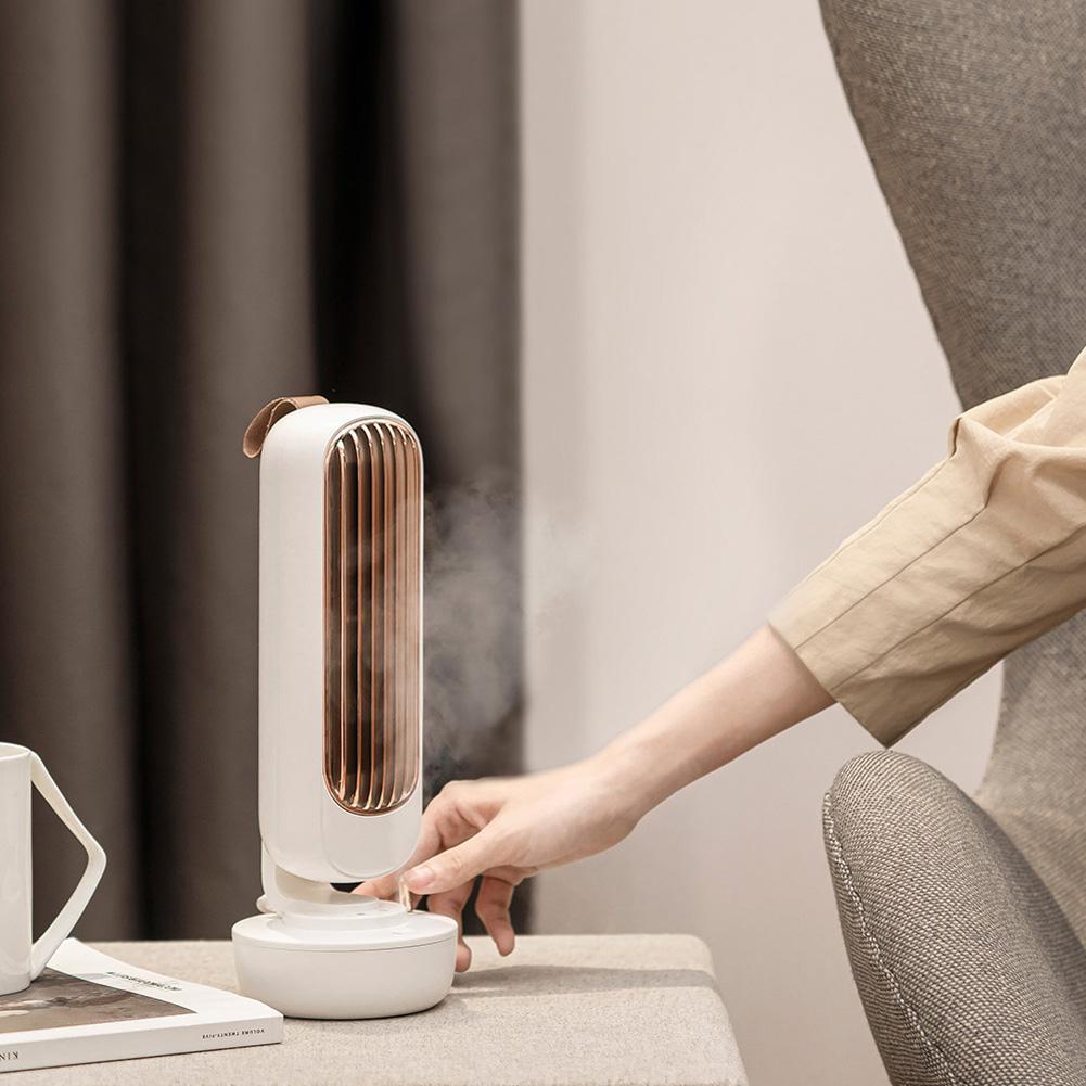USB 2 en 1 de pulverización de agua ventilador aire acondicionado ultrasónico humidificador de ventilación Retro ventilador de torre de escritorio silencioso viento fuerte