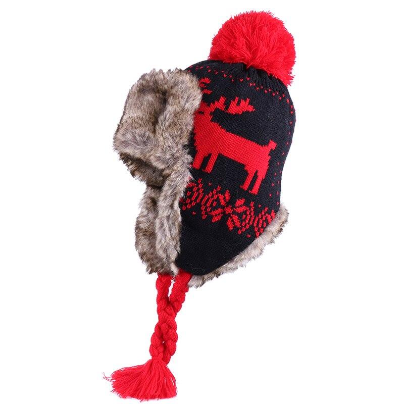 Bomber Hats Women Winter Wool Beanies Cashmere Earflap Hat Faux Rabbit Fur Pompom Russian Ushanka Tr
