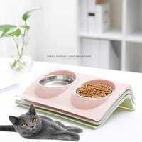 pet double bowls food water feeder stainless steel cat food bowl for dog puppy cats pets supplies feeding dishes easy to clean