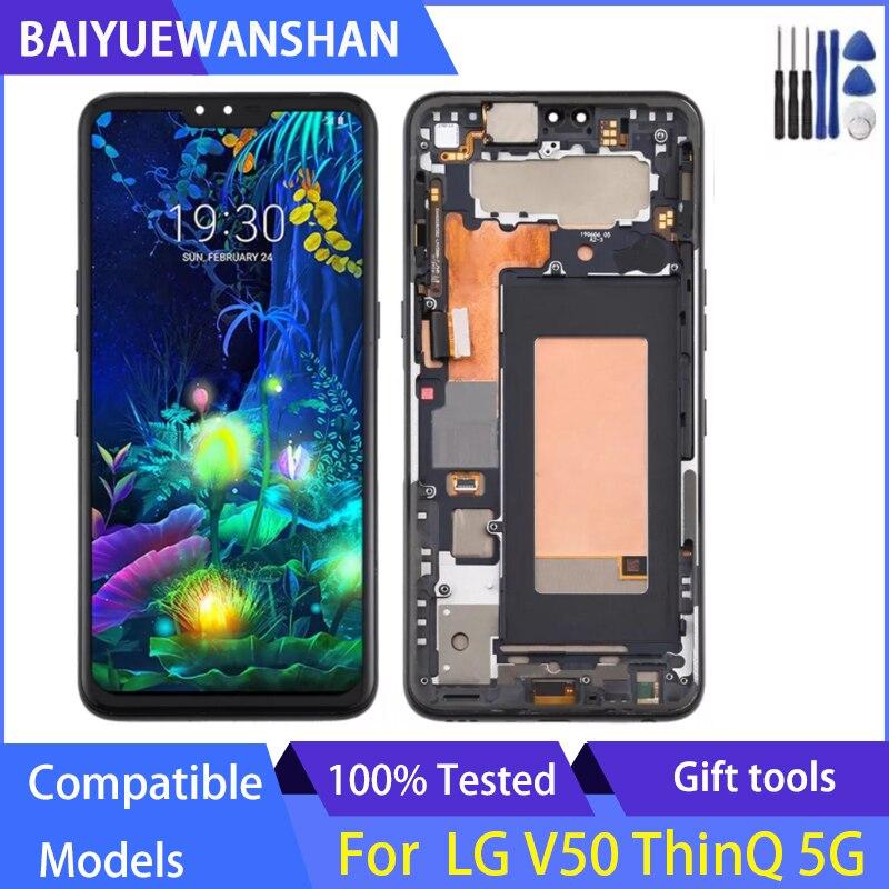 ل LG V50 ThinQ 5G LM-V500 LM-V500N LM-V500EM LM-V500XM LM-V450PM LM-V450 شاشة LCD و الجمعية محول الأرقام مع الإطار