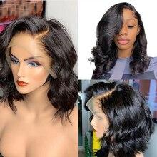 Perruques Full Lace Wig naturelles 13x6   Cheveux humains, coupe au carré Bob Short Bob, sans colle, pre-plucked, avec Baby Hair, sans colle, pour femmes