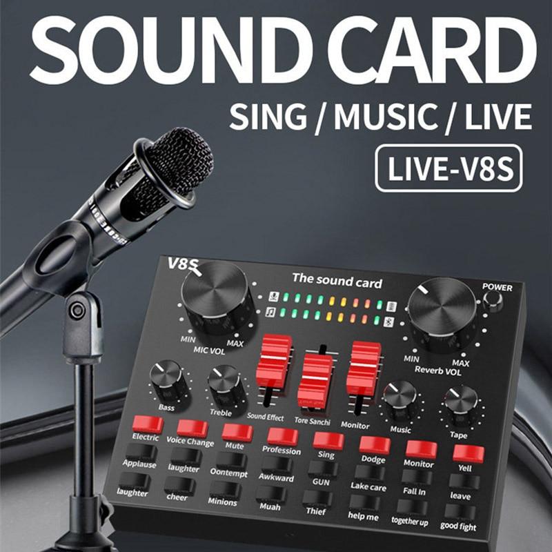 V8S بلوتوث البث المباشر كارت الصوت سماعة الصوت USB ميكروفون غاسل بث بطاقة الصوت للكمبيوتر PC الهاتف المحمول