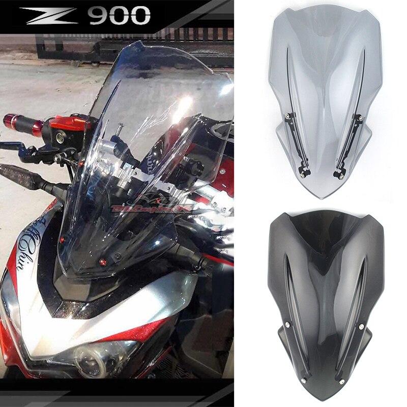 Z 900 ملحقات الدراجات النارية حاجب للزجاج الامامي للهواء والرياح مع قوس لكواساكي Z900 2017 2018 2019 ادخاني اسود