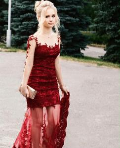 2020 prom dress burgundy mermaid lace long sleeve lace appliques formal gowns vestidoa fiesta  robe de soirée elegante gorgeous