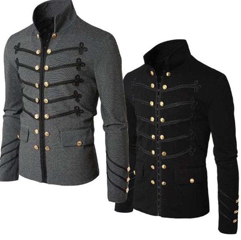 Casual masculino outerwear plus size gótico militar desfile jaqueta túnica masculina moda rock preto steampunk casaco erkek giyim kurtka