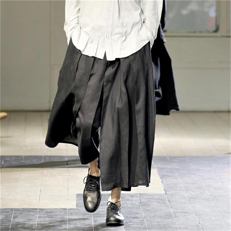 M-4XL European and American Skirt Pants Cropped Pants Wide Leg Pants Catwalk Trendy Men's Loose Casual Pants Dark High Street Pa