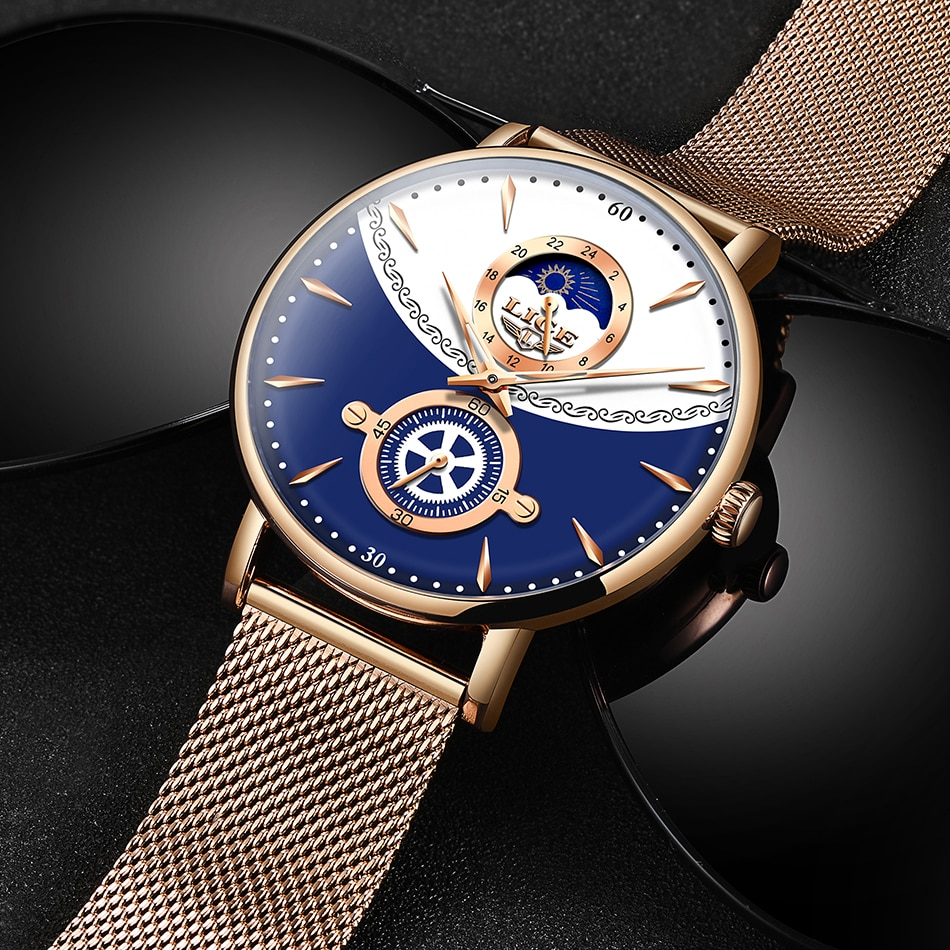 LIGE Womens Watches Top Brand Luxury Waterproof Watch Fashion Ladies Stainless Steel Ultra-Thin Casual Wrist Watch Quartz Clock enlarge