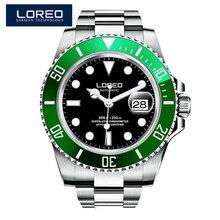 2020 LOREO 새로운 사파이어 시계 남자 고품질 스테인리스 고급 기계 남자 방수 200M 남성 시계 montre homme