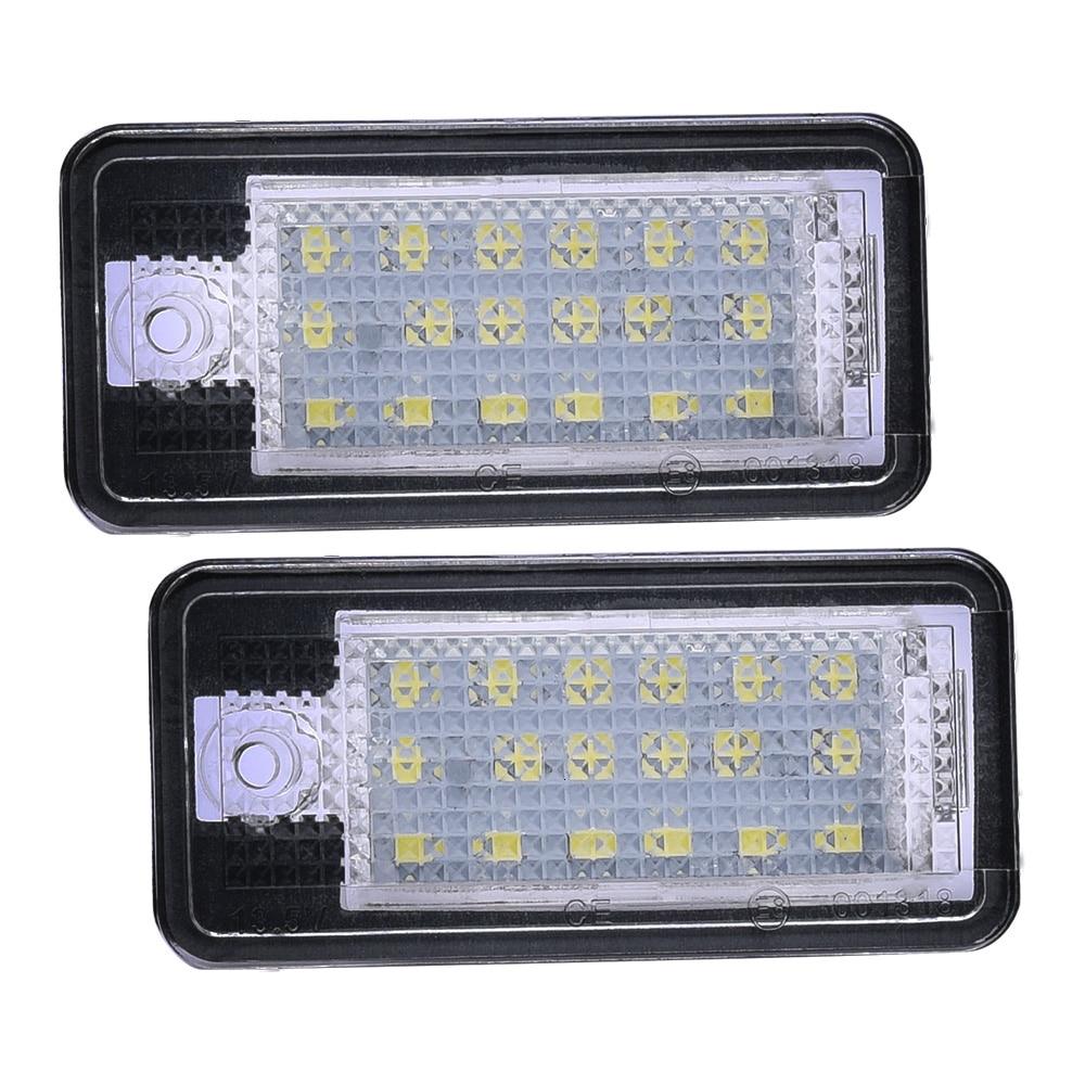2 pçs para audi a3 8p a4 b6 b7 a6 c6 a8 d3 q7 4l sline universal 12v led número de carro luzes da placa da cauda lâmpada