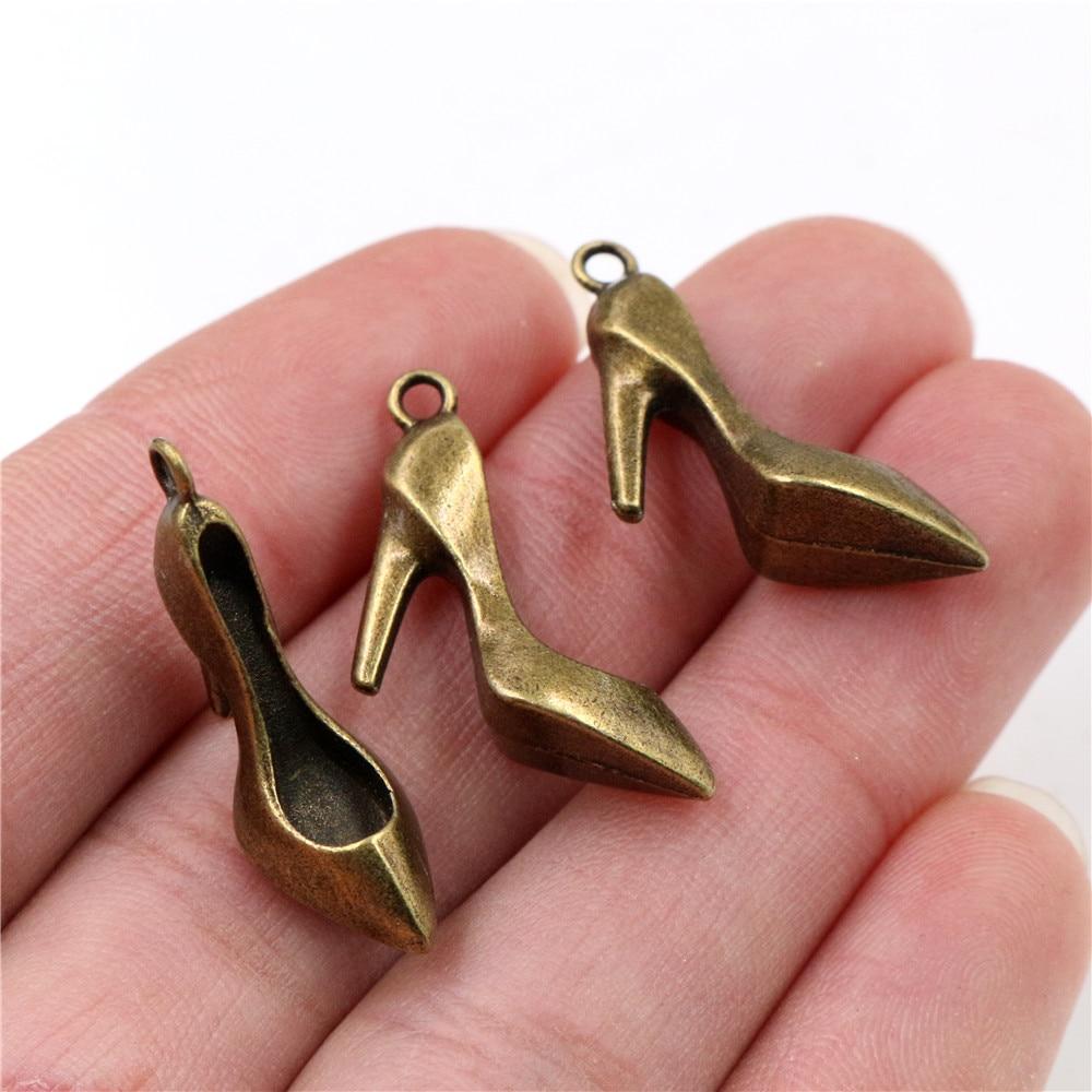 18x18mm 10 Uds. Antiguo bronce plateado tacones altos abalorios hechos a mano colgante DIY para pulsera necklace-Q6-02