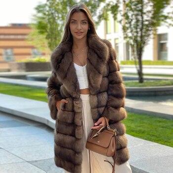 Fashion Long Length Fox Fur Coat Genuine Women Casual High Quality Full Pelt Real Fox Fur Coats for Woman Winter Outwear Trendy
