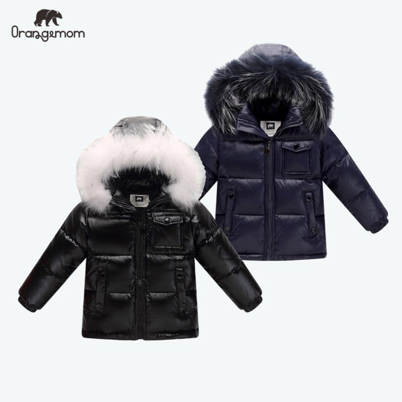 Black Winter Jacket Parka For Boys Winter Coat 90% Down Girls Jackets Children's Clothing Snow Wear Kids Outerwear Boy Clothes