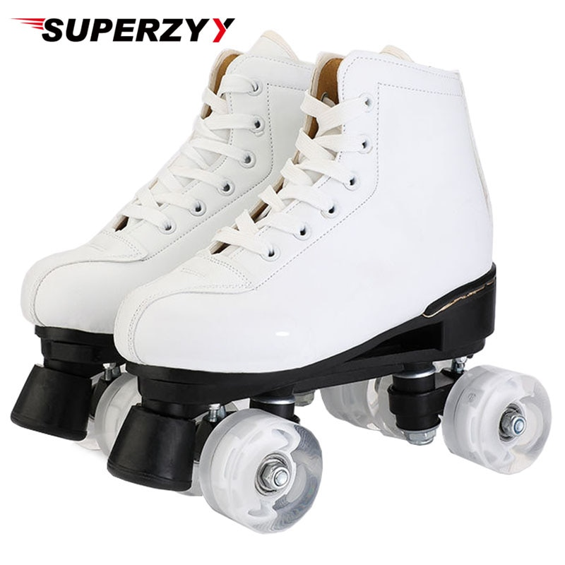 Artificial Leather Roller Skates Double Line Skates Women Men Adult Two Line Skate Shoes Patines Wit