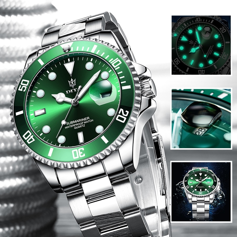 Quartz Watch Men Top Brand Luxury Green Waterproof Watches Mens Stainless Steel Sports Date Male Wri
