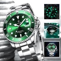 Quartz Watch Men Top Brand Luxury Green Waterproof Watches Mens Stainless Steel Sports Date Male Wristwatches Relogio Masculino