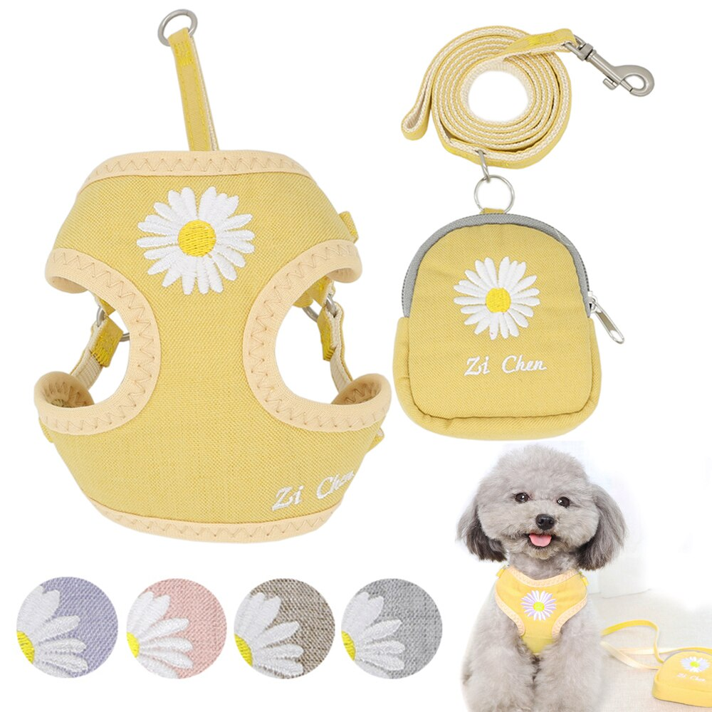 AliExpress - Dog Harness Vest Leash Set Embroidery Breathable Adjustable Snack Bag Dog Harness Vest For Small Medium Dogs Cats Vest