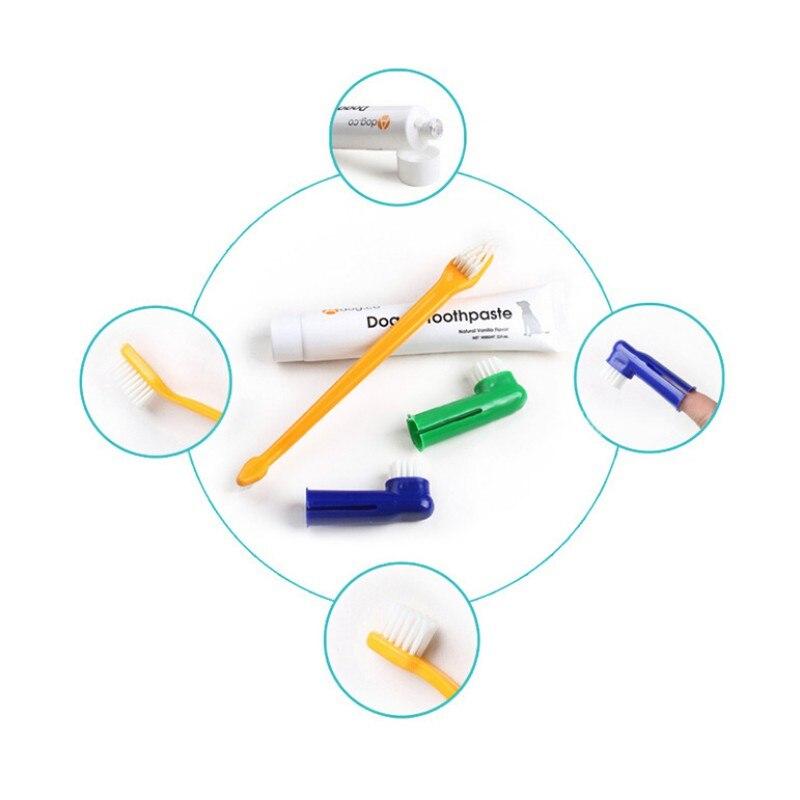 Juego de cepillo de dientes para mascotas, suministros de cuidado bucal para perros, pasta de dientes, juego de cuidado de dientes para perros y gatos