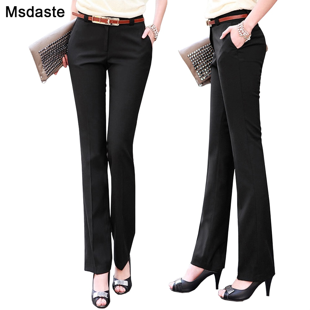 Nuevos pantalones de moda para mujer Pantalones rectos acampanados ajustados de cintura alta pantalones formales para mujer Pantalones de talla grande para mujer ropa de oficina para mujer
