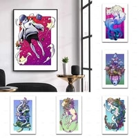 nordic abstract cartoon giant turtlelionmonkey forest elfspace girl wall art canvas painting prints poster modular homedecor